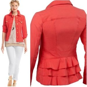 CABI  red jacket ruffled back size medium